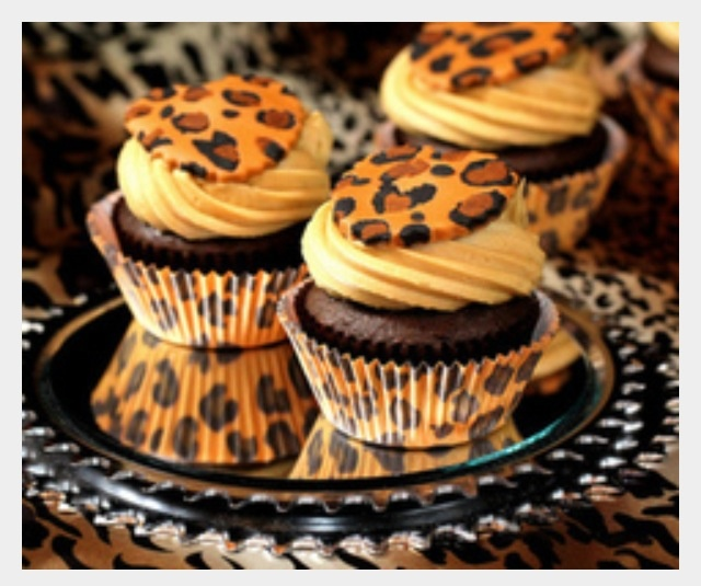 Cheetah print cupcakes, maybe for a girl's sixteen!