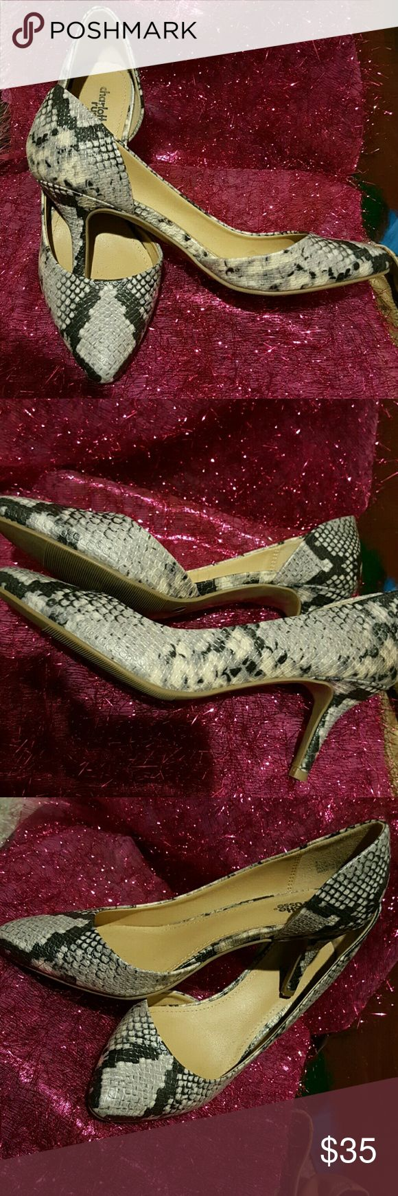 Heels Snake skin gray with black 4 inch heels with cushion insoles. Charlotte Russe Shoes Heels