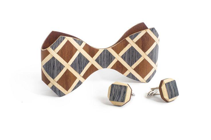 Комплект ТВИД галстука-бабочки ЛЮКС и запонок от БАГ из дерева | Серый дуб / Клён / Красное дерево - Махагон