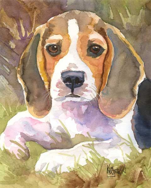 Beagle Art Print of Original Watercolor Painting  by dogartstudio on etsy.