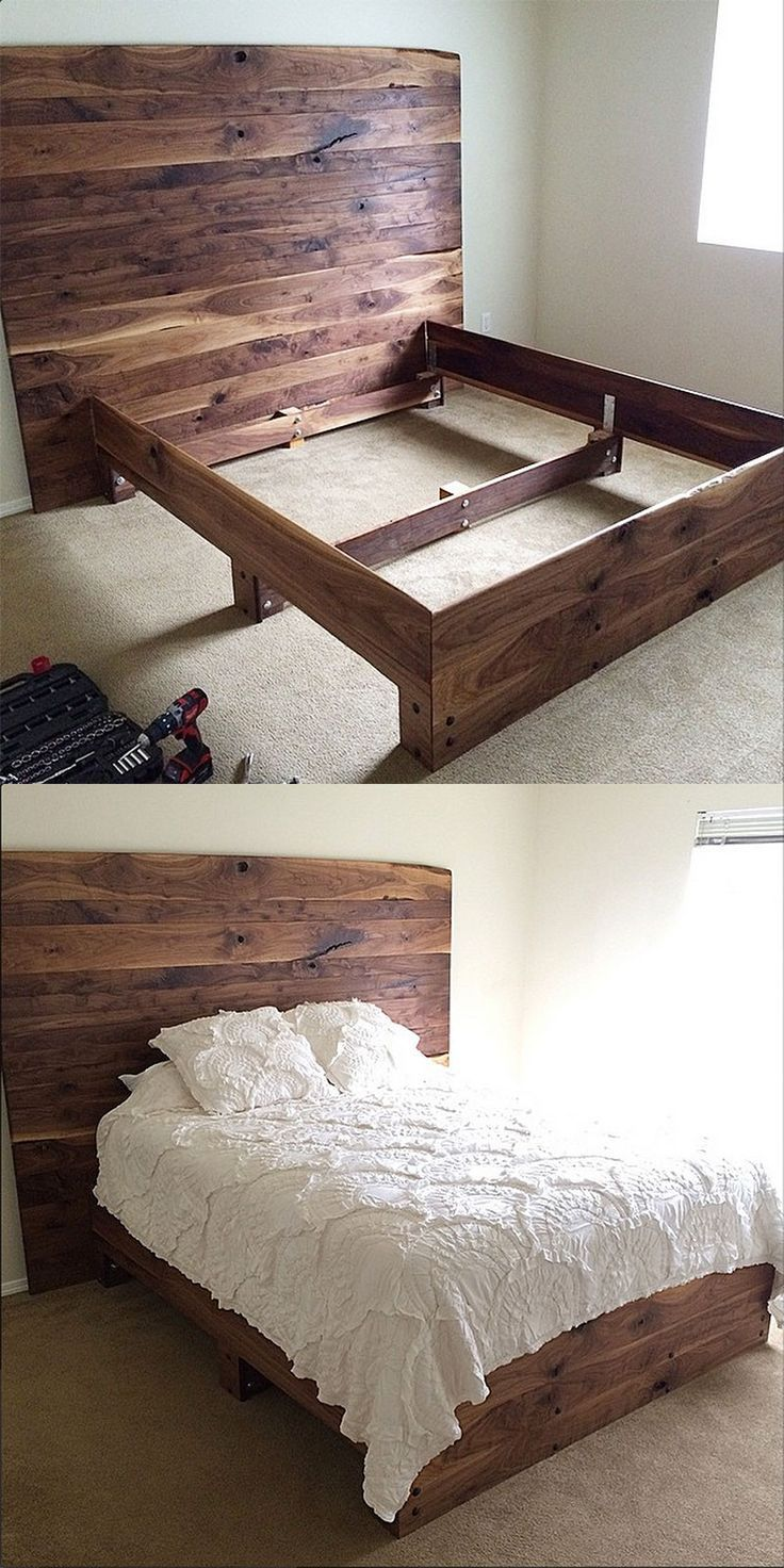 Simple Diy Platform Bed In Solid Walnut So Pretty Diy