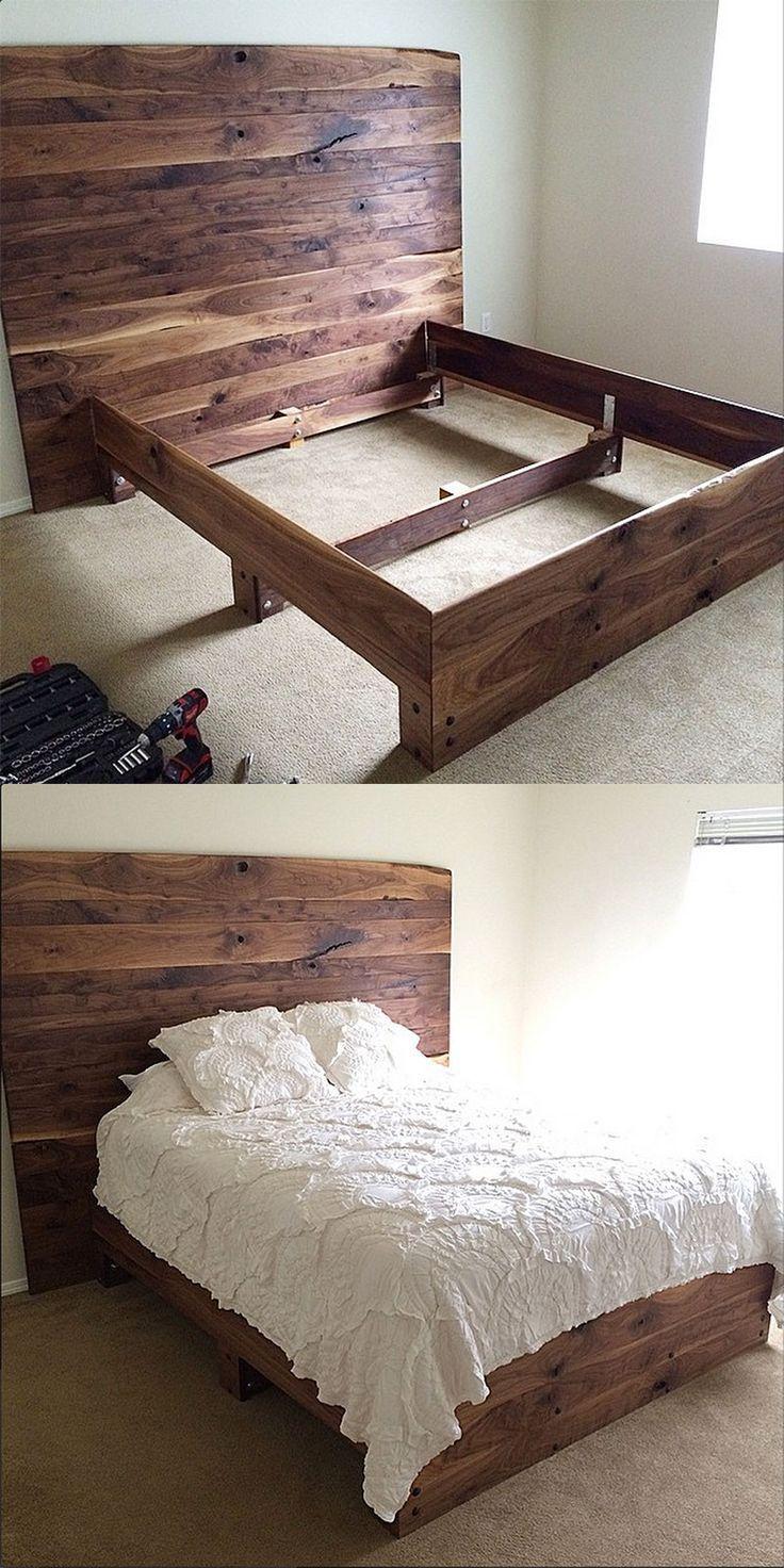 Simple DIY platform bed in solid walnut. So pretty!