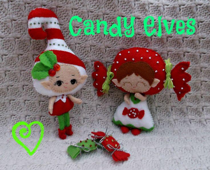 Christmas Elf Doll Set - Handmade Felt Boy & Girl Candy Elves - Made To Order by HarveyshouseCrafts on Etsy https://www.etsy.com/listing/160285875/christmas-elf-doll-set-handmade-felt-boy
