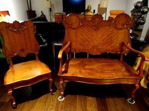 1800s EASTLAKE tiger maple SETTEE set carved FUNKY tiger maple