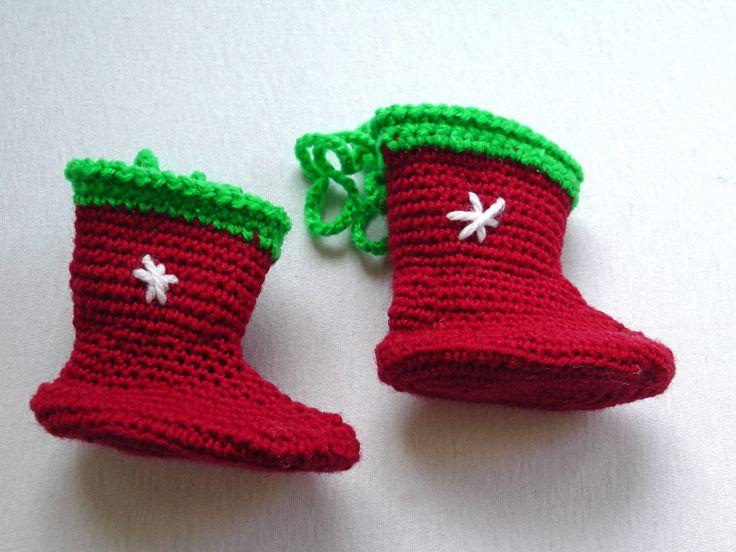 Crochet Christmas gift boot, 1 piece small boot, Christmas tree decoration, by GrandmasOldBox on Etsy