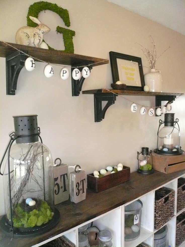 Love the lanterns with nests and eggs in them!! Look great on my bar! Easter decorations