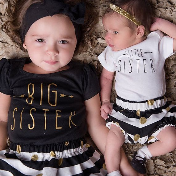 Mädchen große Sis-Outfit große Schwester-Shirt kleine