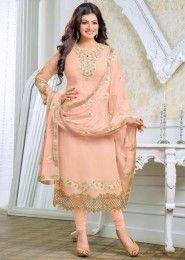 Party Wear Georgette Peach Embroidery Border Work Salwar Kameez