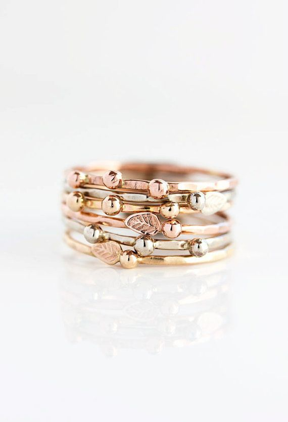 14k gold stacking ring, eco friendly, woodland, yellow gold, rose gold, white gold, organic, nature, delicate, gift for her