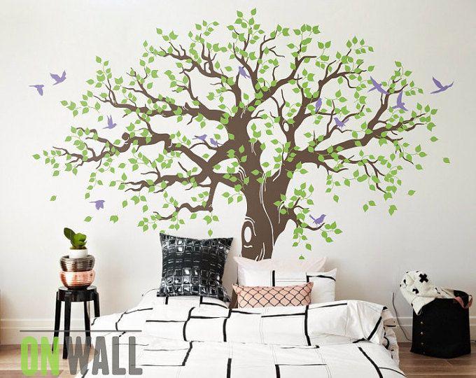 Gran etiqueta de la pared del arbol, vivero árbol tatuajes de pared, mural árbol, etiqueta de la pared del vinilo, etiqueta engomada - MM033 de la pared