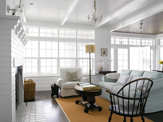 Check out these ceilings!  And maybe this picture will help me convince my husband white painted brick is perfect for a fireplace.