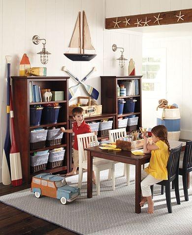 Table with organizing shelvesKids Playrooms, Barns Kids, Kids Room, Pottery Barn Kids, Nautical Playrooms, Plays Room, Nautical Room, Boys Room, Pottery Barns