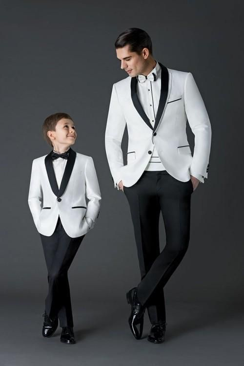 White Jacket Black Pants Mens Wedding Suits Groom Tuxedos