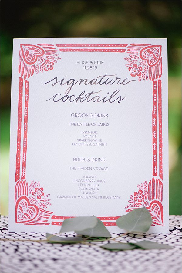 White And Red Wedding Drinks Menu Tails Weddings