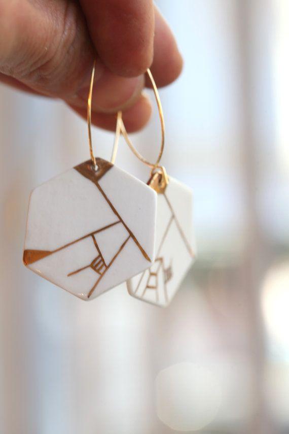 Dyle. Boucles d'oreilles géométriques en porcelaine  de Limoges et paint à la main avec de l'or.