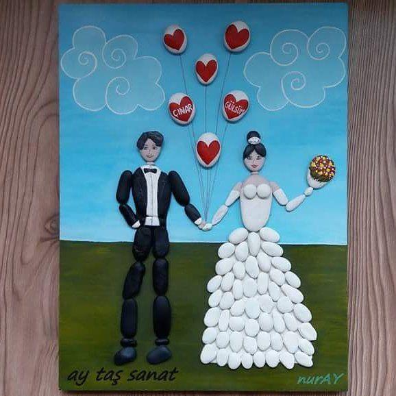 Siparişimiz hazır..#taş #boyama  #hobi #orjinal #tasarım #pano #stone #art #rock #stoneart #farklı #hediyelik #tablo #elyapımı #handmade #elemeği #aytaşsanat #taşsanatı #wedding #paintingstones #evdekorasyon #batıkent #ankara #gelindamat #düğün #balon #hobinisat #10marifet #sipariş #kişiyeözel