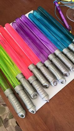 Bubble wand light sabers! Just spray paint the handle silver and you have a great favor for your Star Wars birthday party! BEST. IDEA .EVER!!!