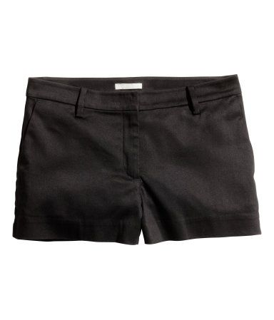H&M Cotton Satin Shorts $13 : Short shorts in woven, stretch cotton satin fabric. Concealed hook-and-eye fastener, side pockets, and mock welt back pocket.