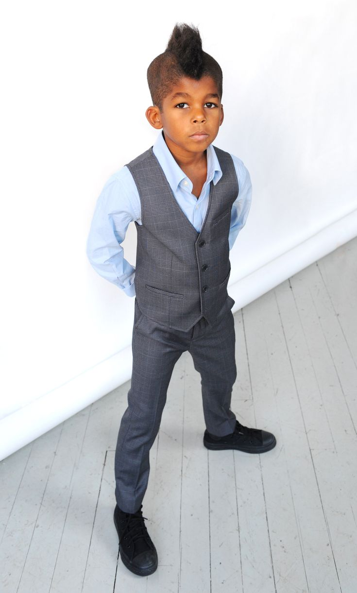 Appaman Suit Pants in Plaid and Tailored Vest in Plaid, paired with Standard Shirt in Blue #appaman #finetailoring #standardshirt #fw13 Available at http://www.appaman.com/boys/fine-tailoring/