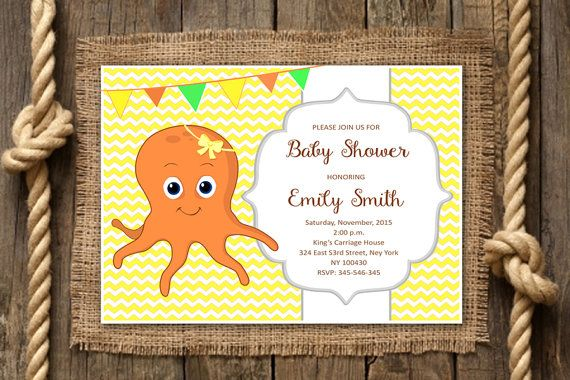 Baby Shower Invitation Squid Invitation by TheCutePaperStudio Baby Shower Invitations For Girls