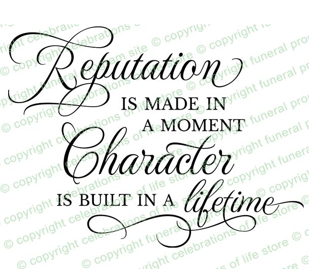 Inspirational Quotes About Life : Reputation Quote PreDesigned Script Elegant Title