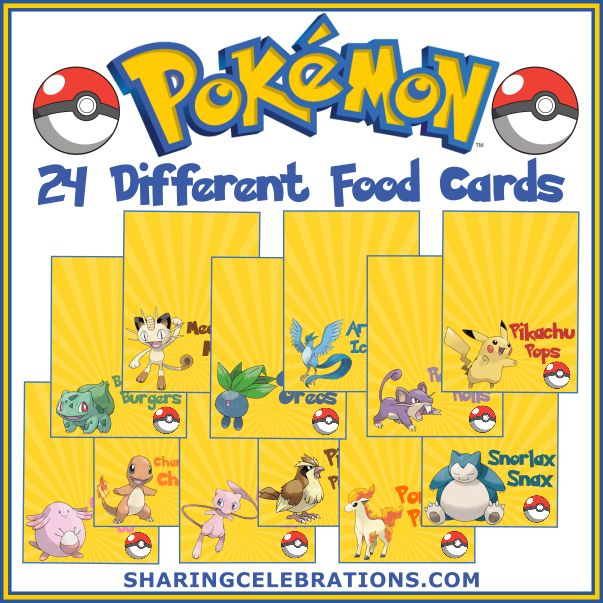 Pokemon Party menu ideas and Food Cards