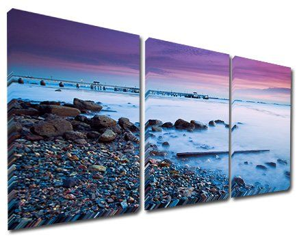 Mon Art 16x24 Inch x3 Pics Stone Beach Modern Canvas Wall Art Decor Abstract Paintings on Canvas Blue Sky Sea (No Stretched and UnFramed)
