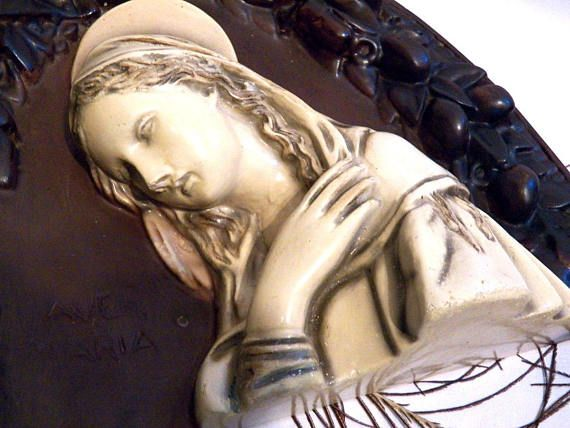 Escultura Virgen María Relieve Virgen María Gran Escayola