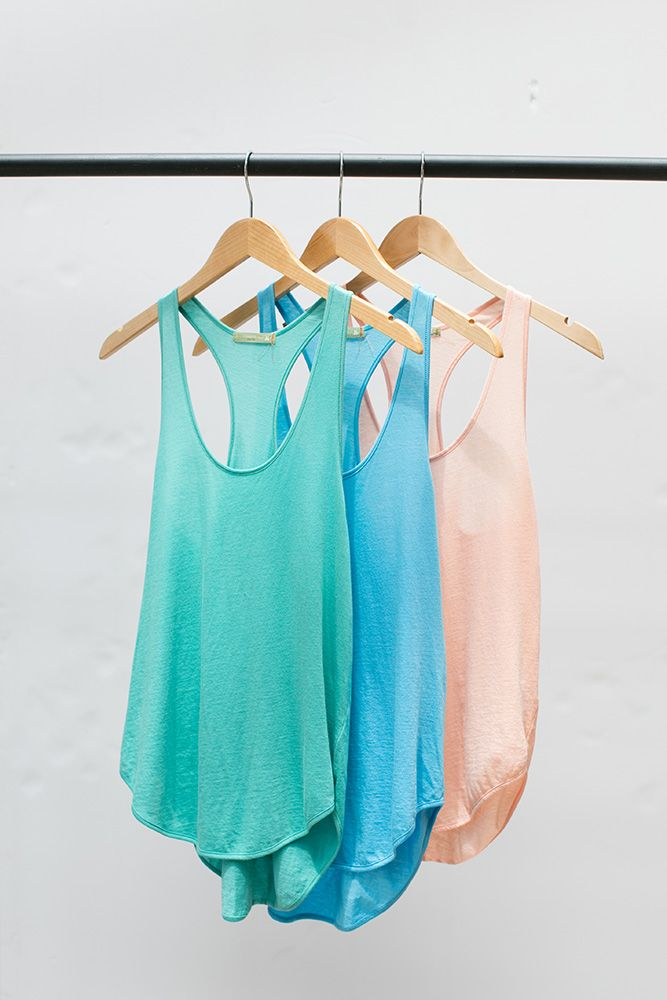 Pick your favorite pastel color tank for summer made from our super-soft 100% Organic Pima Cotton.
