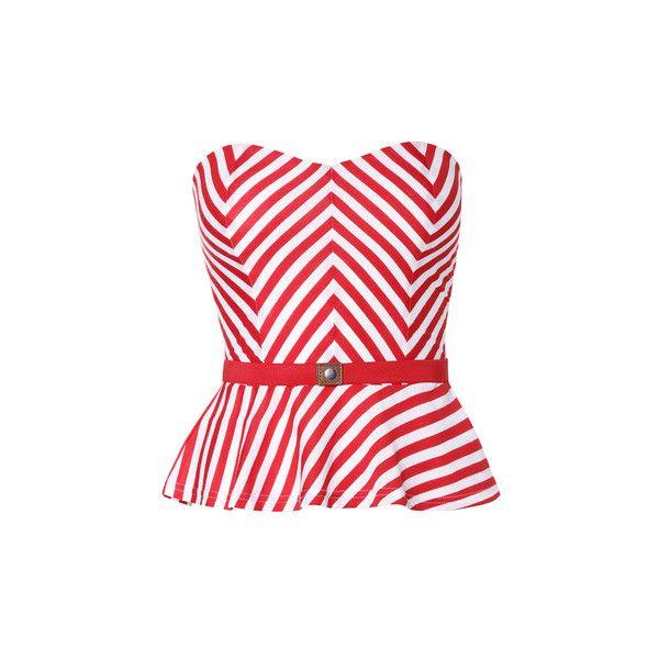 TALLY WEiJL: Candy Stripe Top ($18) ❤ liked on Polyvore featuring tops, striped top, red top, red striped top, bandeau tops and bandeau bikini top