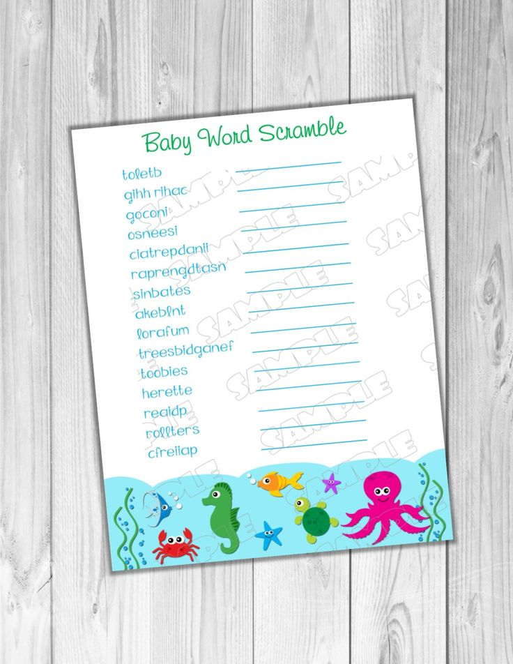 Under the sea Baby shower games Word scramble game Printable INSTANT DOWNLOAD  UPrint  by greenmelonstudios under the sea baby shower by greenmelonstudios on Etsy