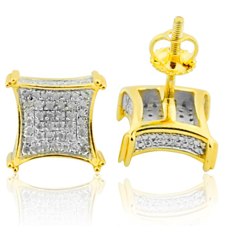 0.30ctw Diamond Earrings for Men or Women 11mm Sterling Silver With Gold Finish