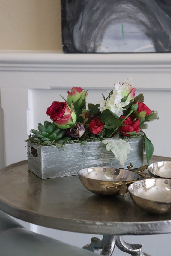 Rustic and farmhouse home decor centerpiece floral arrangement for living room mantle or office dining table