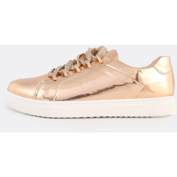 SheIn(sheinside) Patent Lace Up Metallic Sneakers ROSE GOLD ($24) ❤ liked on Polyvore featuring shoes, sneakers, golden, bamboo sneakers, rose gold trainers, patent leather sneakers, golden sneakers and lace up sneakers