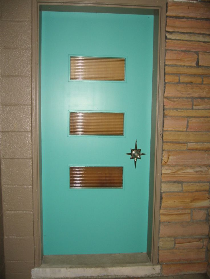 mid century modern front door colorful