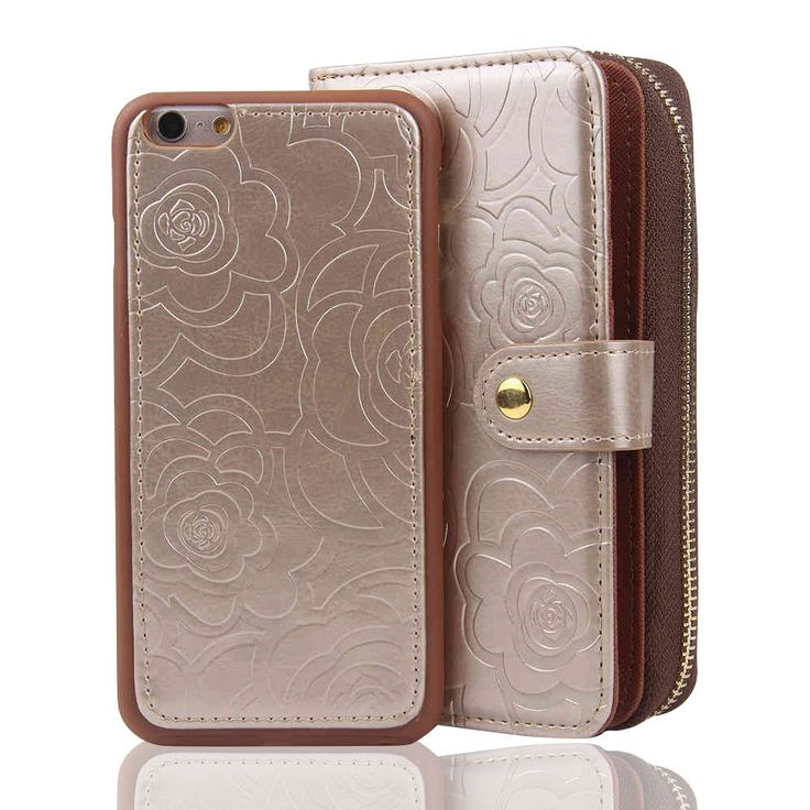 RAYTOP [Magnetic Phone Case Removable From Wallet] Flip Cover for iPhone 6 / iPhone 6s Regular 4.7 Screen Zipper Purse Embossed Flower Patterns Elegant Champagne Color For Girls Women Classy Design. Synthetic leather wallet case for: Apple iPhone 6 and Apple iPhone 6s (Does not fit iPhone 6(s) Plus. Internal case can be attached to the wallet and other metal parts by magnet; can be removed when needed. Larger capacity :3 card slots + 5 large pockets. (Size: 6.2 x 3.6 x 1.6 inches, a…