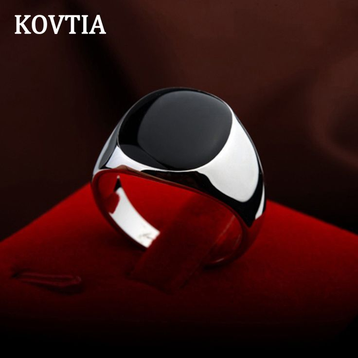 KOVTIA Brand Design Black Men Rings 13mm Width Big Wedding Bands Bright White Gold Plated Party Bague Fashion Jewelry 90650