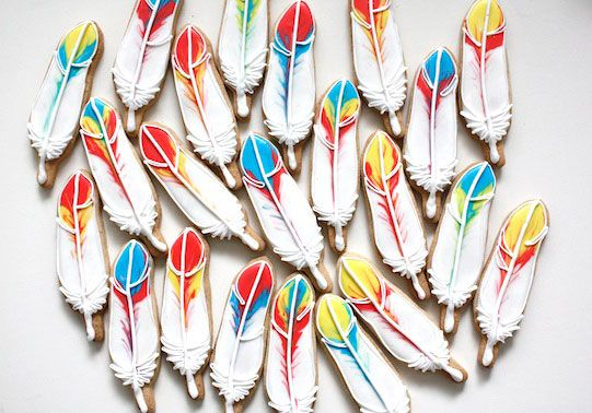 feather cookies// Japanese cookie artist cookieboy