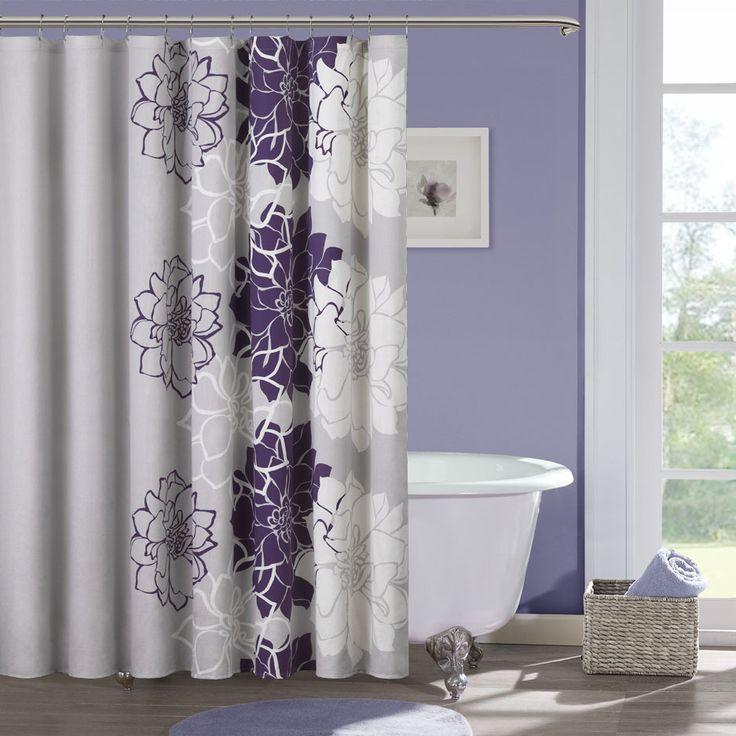 Grey U0026 Yellow Shower Curtain | Bathroom. See More. Purple Geometric Flowers    101  Purple And Grey Shower Curtain