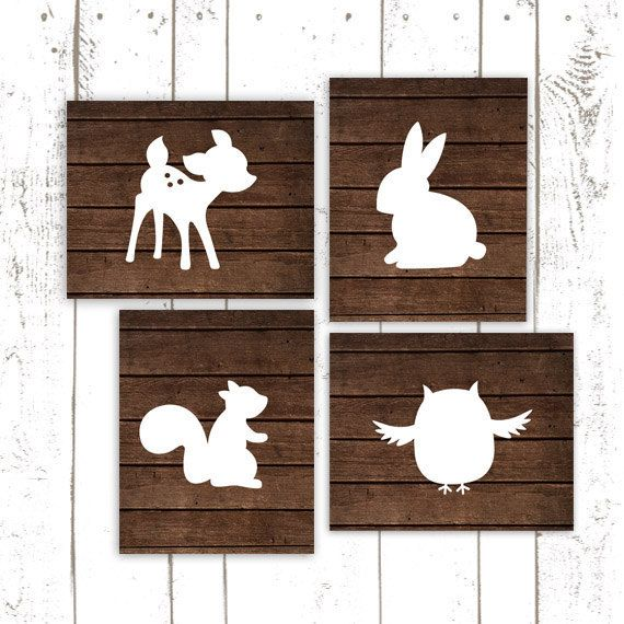 Wood Nursery Prints, Woodland Nursery, Owl, Bunny and Deer Prints, Rustic Art Prints, Set of Four on Etsy, $50.00