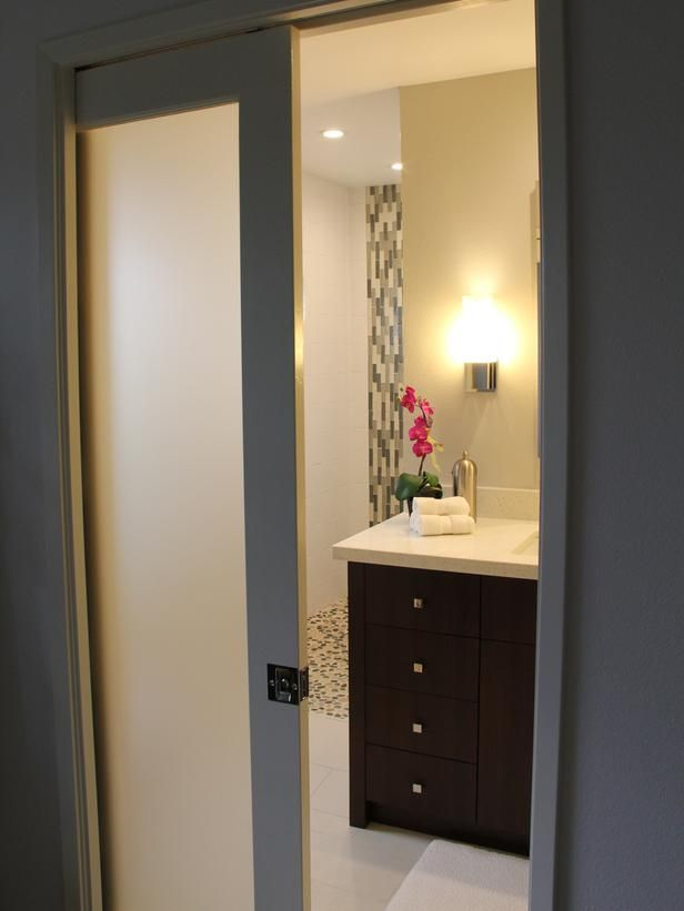 Asian Bathroom with Mosaic Tile and Bamboo