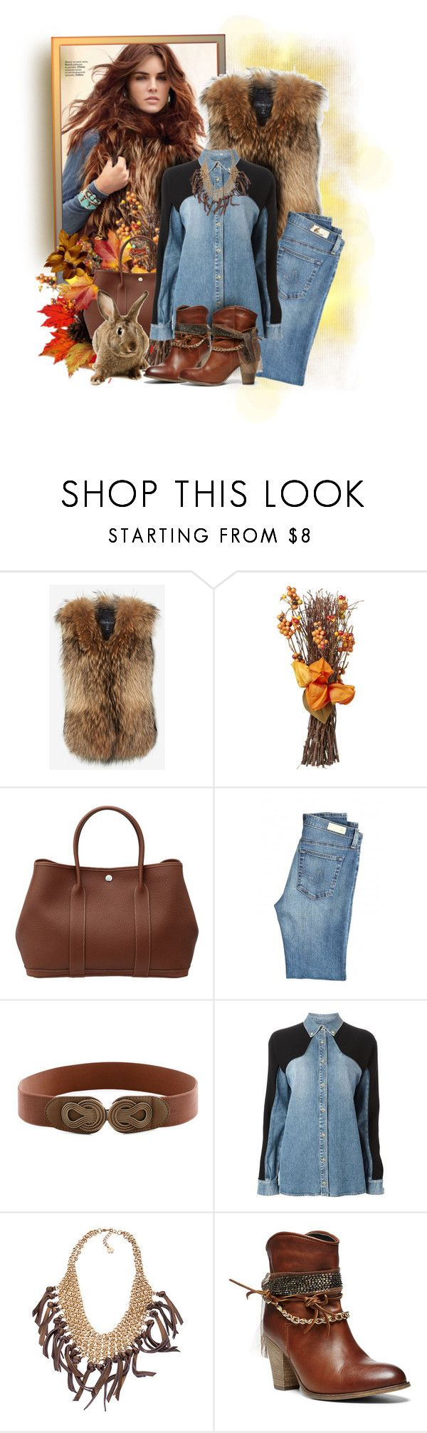 """Last Fall Colors"" by anny-foxx ❤ liked on Polyvore featuring Adrienne Landau, Hermès, AG Adriano Goldschmied, FAUSTO PUGLISI, Skinny by Jessica Elliot and Steve Madden"