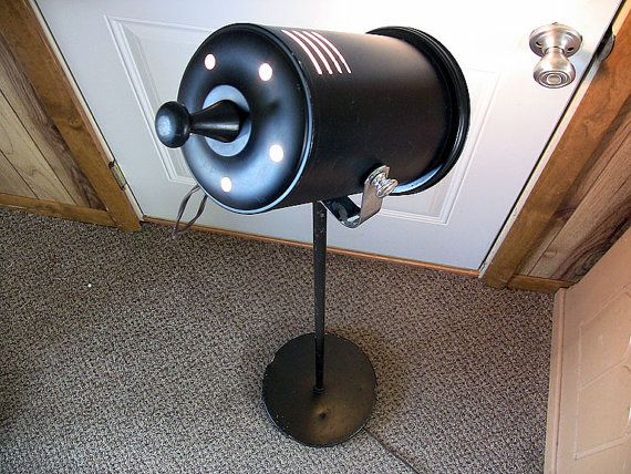 Vintage Spotlight Floor Lamp Can Light Theater Lighting Cast Iron Base by EclectiquesBoutique