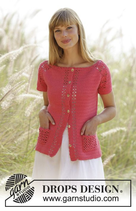 Warm Apricot Cardigan by DROPS Design. With lace pattern, raglan and short sleeves. Free #crochet pattern
