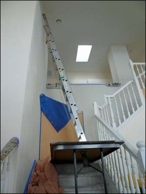 Good Painting Stairs Walls With Folding Table And Extension Ladder