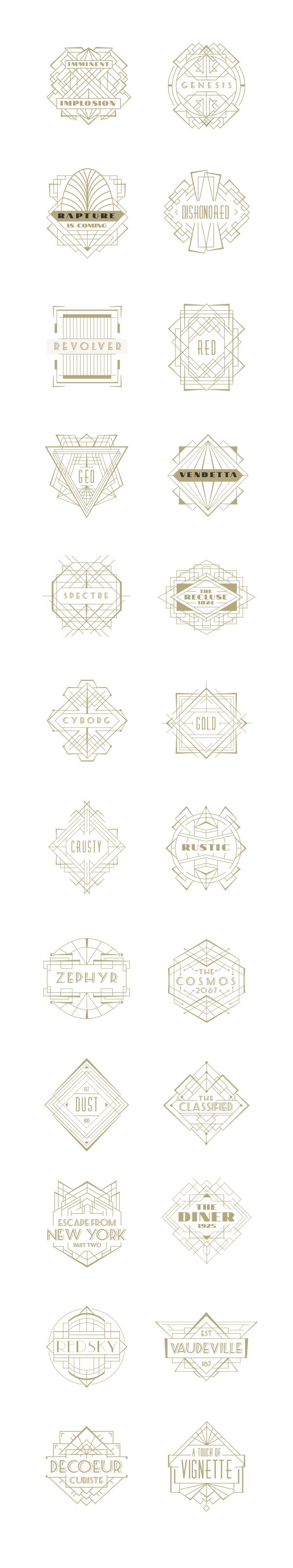 Art Deco Badges on Behance www.lab333.com www.facebook.com/pages/LAB-STYLE/585086788169863 www.lab333style.com www.instagram.com/lab_333 lablikes.tumblr.com www.pinterest.com/labstyle