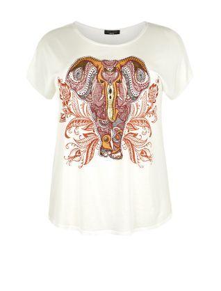 Plus Size Cream Paisley Elephant T-Shirt    New Look