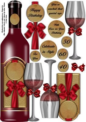 RED WINE CELEBRATION large DL shaped topper on Craftsuprint designed by Kim Blundred - This is a shaped topper for a large DL card. The main image is a bottle of red wine with a wine glass. There are several decoupage layers to add depth to the image and a number of sentiment tag choices.  - Now available for download!