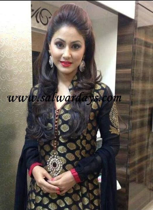Indian Salwars and Indian Fashion: hina khan in black full sleeves designer salwar kameez