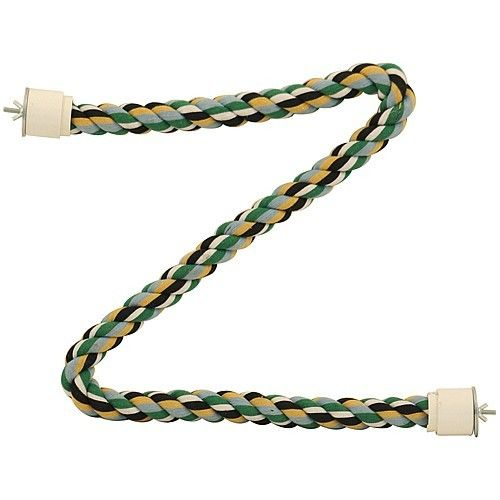 Coloured Cotton Parrot Perch - XLarge  Coloured cotton rope perch which can be fastened side to side or across the corner of the Parrots cage.  Tightly wound cotton rope wrapped around a metal core for extra strength and shape.  Attach each side of the Coloured Cotton Parrot Perch - Xlarge to the bird's cage to create a flexible perching surface.